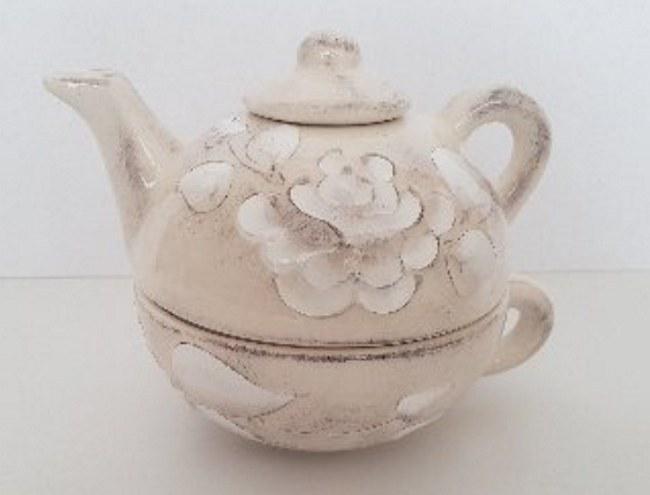 Vanilia Kerámia 31-17 Domború mintás egyszemélyes teás,virágos natur,kerámia, V.K.31-17