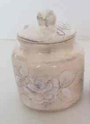Vanilia Kerámia 31-30-02, Domború mintás méztartó nagy,csurgatóval,virágos natur, V.K.31-30-02