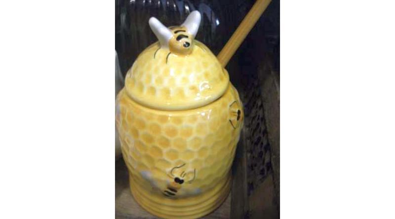 Vanilia Kerámia 32-31, Méhecskés méztartó mézcsurgatóval,kerámia, V.K.32-31