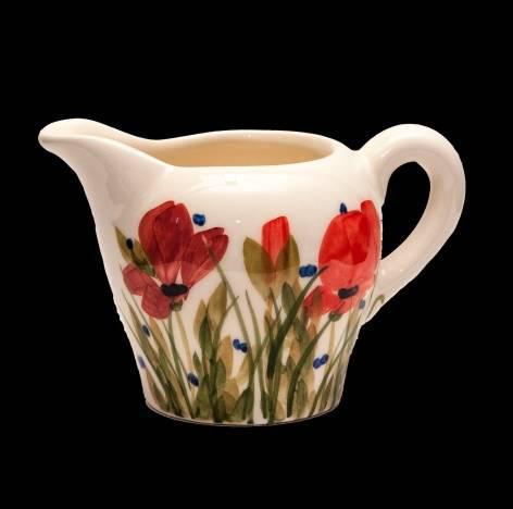 Vanilia Kerámia 43-02 Tele virágos tejkiöntő, pipacs kerámia, kézzel festett, V.K.43-02