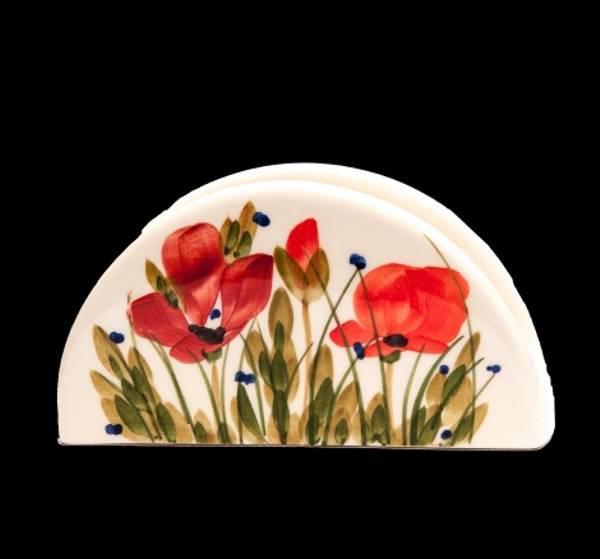 Vanilia Kerámia 43-04, Tele virágos szalvétatartó,pipacs,kerámia,kézzel festett, V.K.43-04