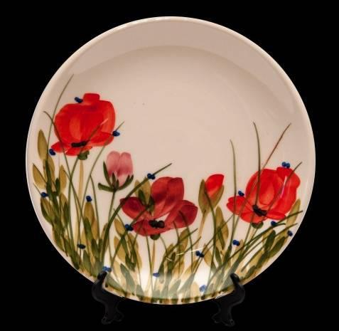 Vanilia Kerámia 43-08 Tele virágos teástányér,pipacs,kerámia,kézzel festett, V.K.43-08