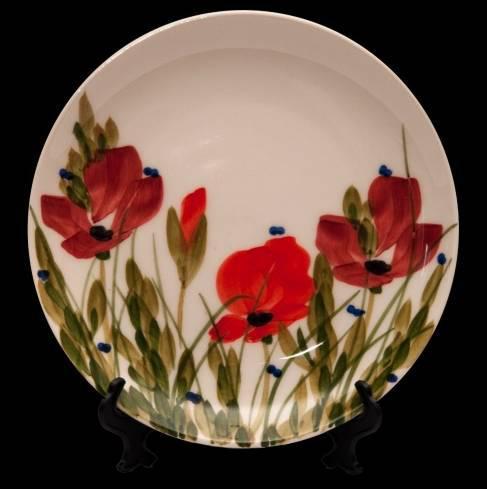 Vanilia Kerámia 43-10 Tele virágos nagyitányér, 20cm, pipacs,kerámia,kézzel festett, V.K.43-10