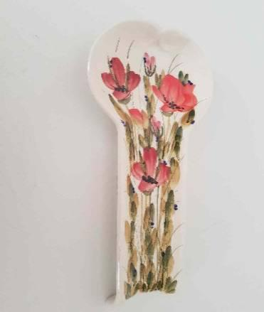 Vanilia Kerámia 43-11 Tele virágos fakanáltartó, pipacs,kerámia,kézzel festett,  V.K.43-11