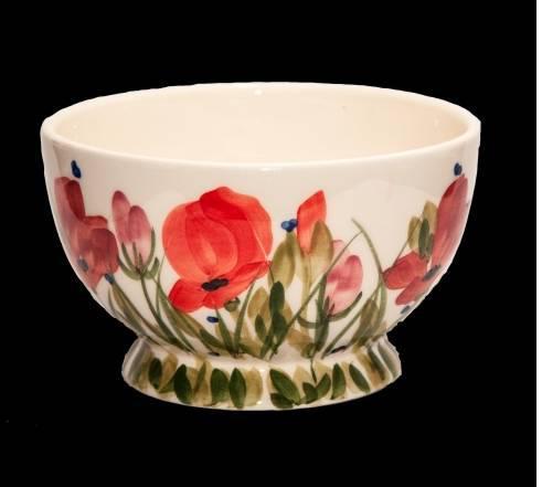 Vanilia Kerámia 43-12 Tele virágos műzlistál,pipacs,kerámia,kézzel festett, V.K.43-12