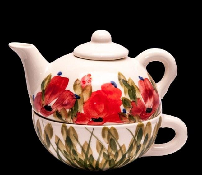 Vanilia Kerámia 43-17 Tele virágos egyszemélyes teás,pipacs,kerámia, V.K.43-17