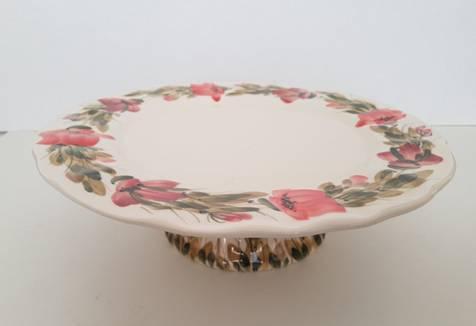 Vanilia Kerámia 43-28, Tele virágos tortatál,pipacs,kerámia,kézzel festett, 28cm, V.K.43-28