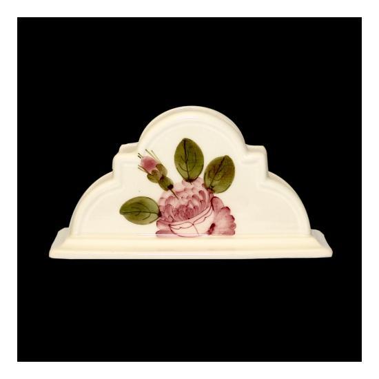 Vanilia Kerámia 44-04, Romantik rózsás kézzel festett kerámia szalvétatartó, rózsás,   V.K.44-04