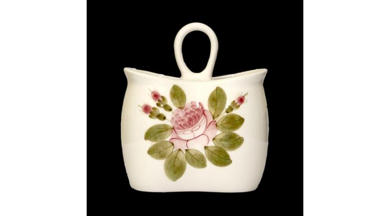 Vanilia Kerámia 44-13 Romantik rózsás álló fakanáltartó,kerámia,kézzel festett, V.K.44-13