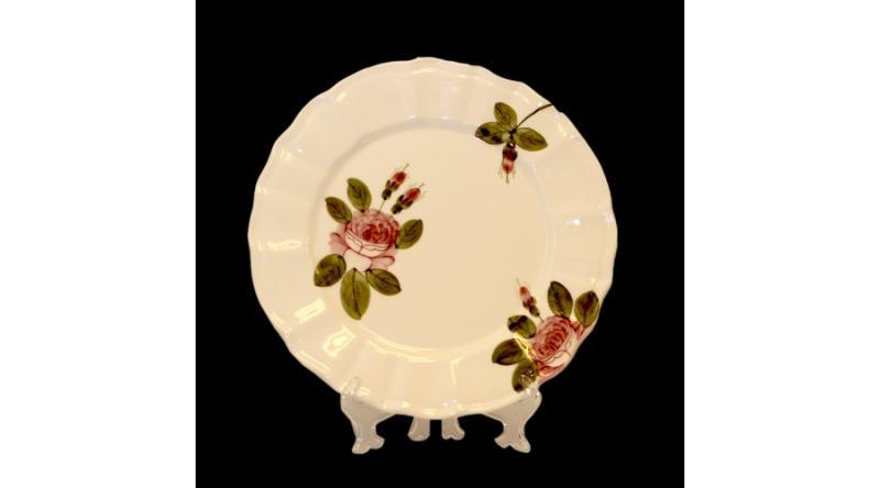 Vanilia Kerámia 44-26 Romantik rózsás desszerttányér,kerámia,kézzel festett, V.K.44-26