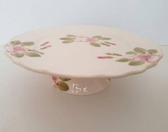 Vanilia Kerámia 44-28, Romantik rózsás tortatál,kerámia,kézzel festett, 28cm, V.K.44-28