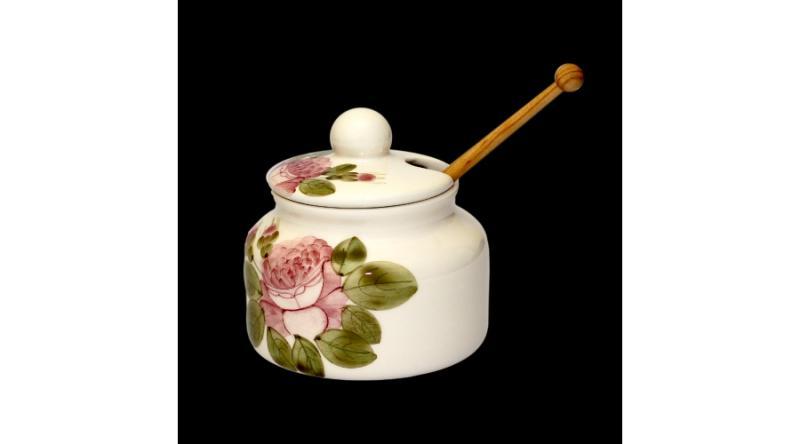 Vanilia Kerámia 44-30-01, Romantik rózsás méztartó kicsi,csurgatóval, V.K.44-30-01