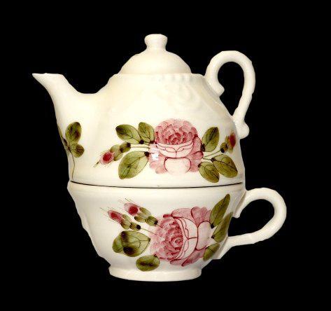 Vanilia Kerámia 44-36, Romantik rózsás kiskanna csészével, V.K.44-36