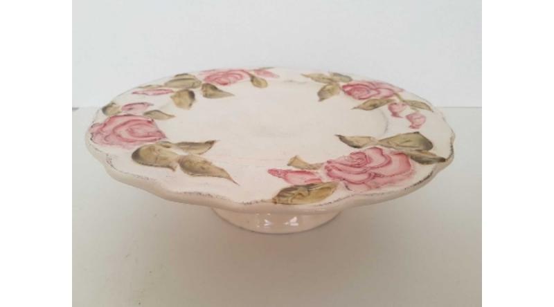 Vanilia Kerámia Domború mintás tortatál,virágos bordó,kerámia,kézzel festett, V.K.30-28