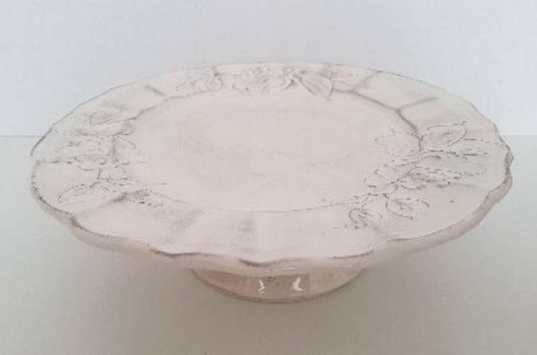Vanilia Kerámia Domború mintás tortatál,virágos natur,kerámia, kézzel festett, V.K.31-28