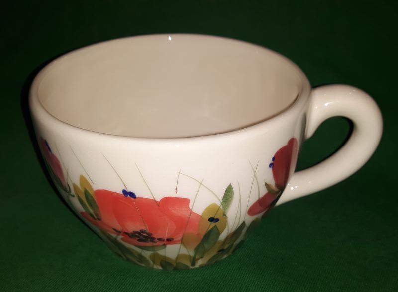 Vanilia Kerámia tele virágos kerámia teáscsésze, pipacsos, kézzel festett, V.K.43-07