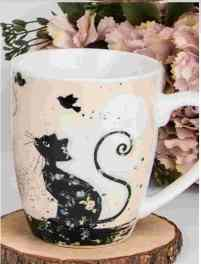 V.B.18106 Koty porcelánbögre 360ml, Cicás, (fekete macska madarakkal) Veroni, 1db