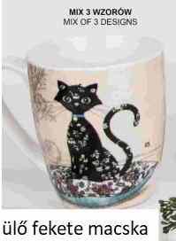 V.B.18106 Koty porcelánbögre 360ml, Cicás, (ülő fekete macska) Veroni, 1db