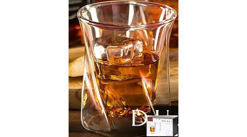 V.B.18328 Duali Twist duplafalú hőtartó üvegpohár 2db-os szett,csavart formájú,250ml