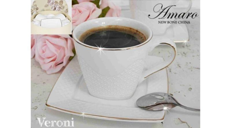 Veroni 14825 Amaro porceláncsésze+alj,220ml,2 személyes,dobozban