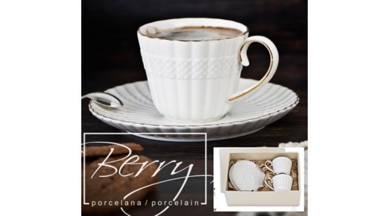 Veroni 16928 Berry porceláncsésze+alj 230ml,2 személyes dobozban