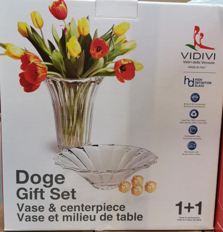 Vidivi Doge üveg váza és tál szett (1+1 db)