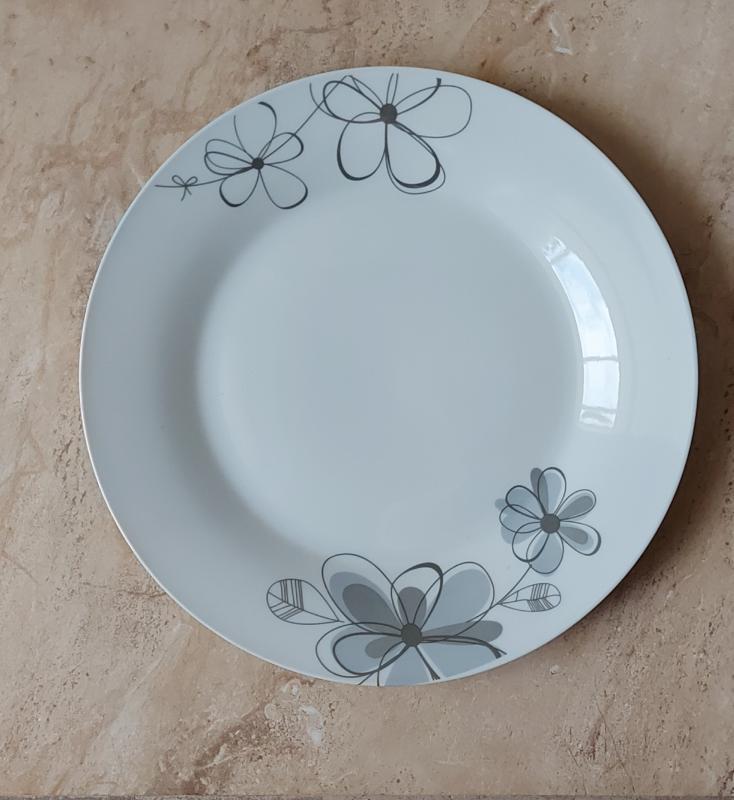 Virágos porcelán lapos tányér, 1db, 24,5cm