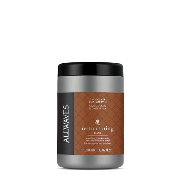 Allwaves Chocolate and Keratin restructuring mask 1000ml / Regeneráló pakolás csokoládé / keratin