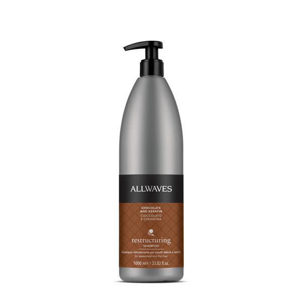 Allwaves Chocolate and Keratin restructuring shampoo 1000ml / Regeneráló sampon csokoládé / keratin