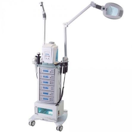 Alv. Modular kezelőgép állvány gőzölővel, nagyítós lámpával és törölköző melegítővel