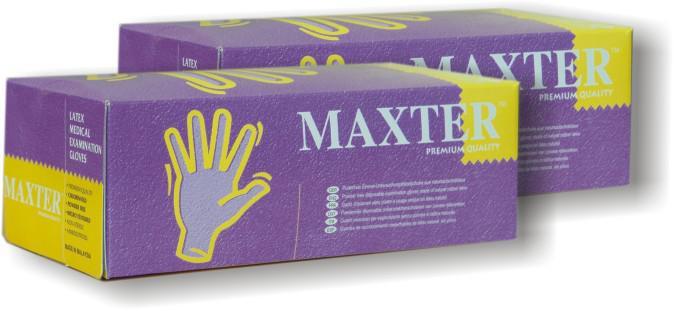 Maxter - Latex vizsgálókesztyű / Enyhén púderezett / 100db/doboz