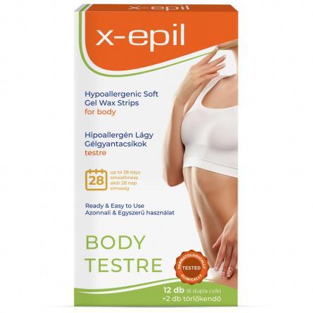 X-Epil Használatra kész hipoallergén gélgyantacsíkok testre - 12db/csomag