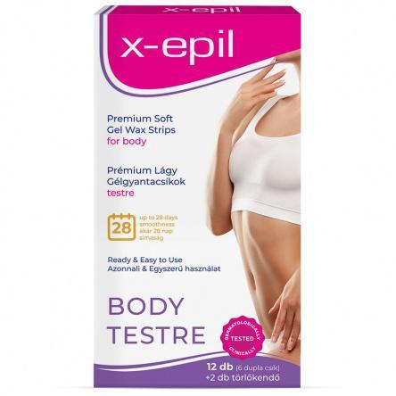X-Epil Használatra kész prémium gélgyantacsíkok testre - 12db/csomag