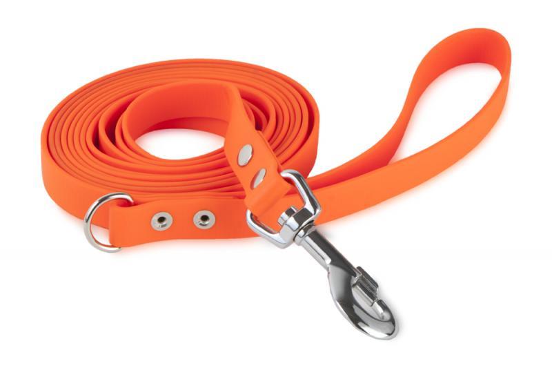FIREDOG® BioThane Póráz 19 mm 1,2 m fogantyúval D-akasztóval Narancs