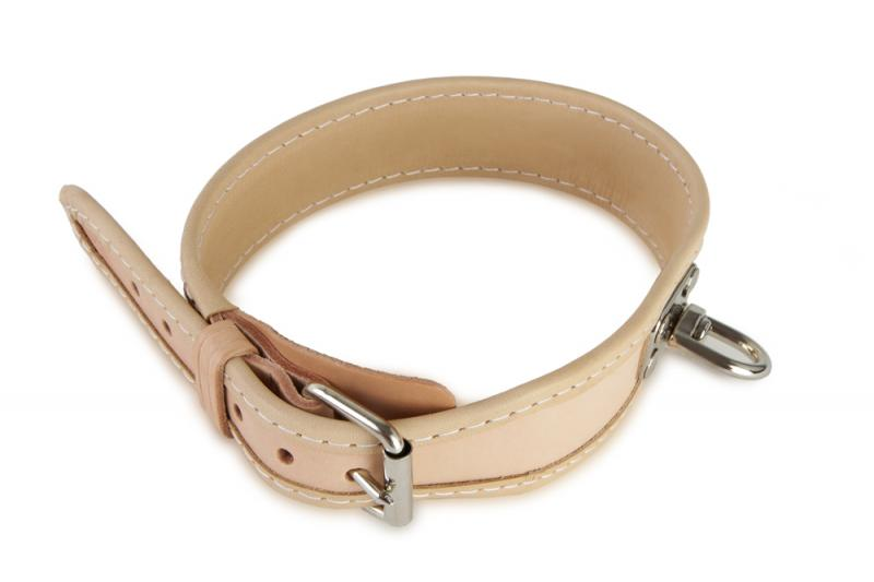 FIREDOG® Bőr Nyomkövető nyakörv Bézs 35 cm