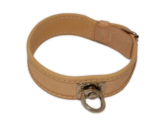 FIREDOG® Bőr Nyomkövető nyakörv Bézs 45 cm