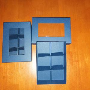 Bonbon doboz- 6 db, ablakos, kék színű