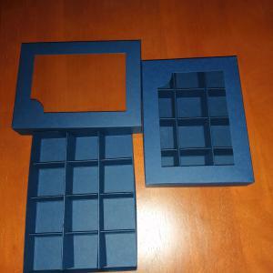 Bonbon doboz, ablakos - 12 db, kék színű