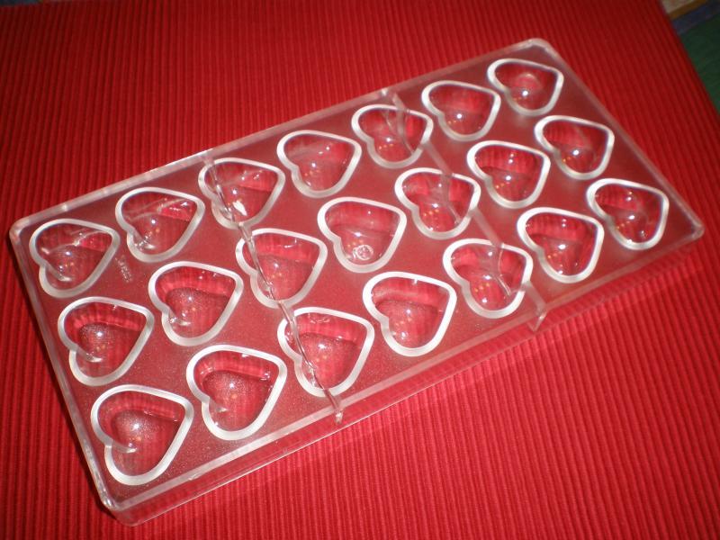 Polikarbonát bonbon forma - szív forma