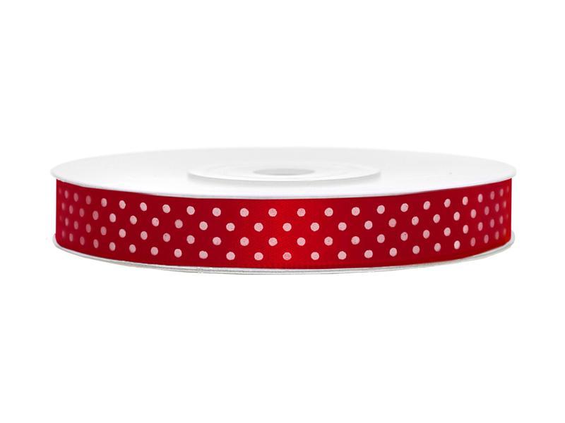 12 mm széles pöttyös szatén szalag (25 m) – piros