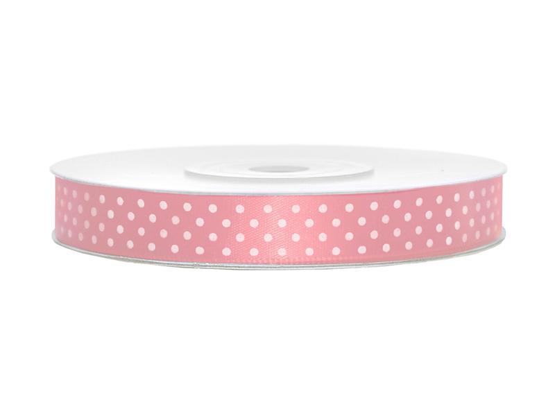 12 mm széles pöttyös szatén szalag (25 m) – rózsaszín d8beef59f2