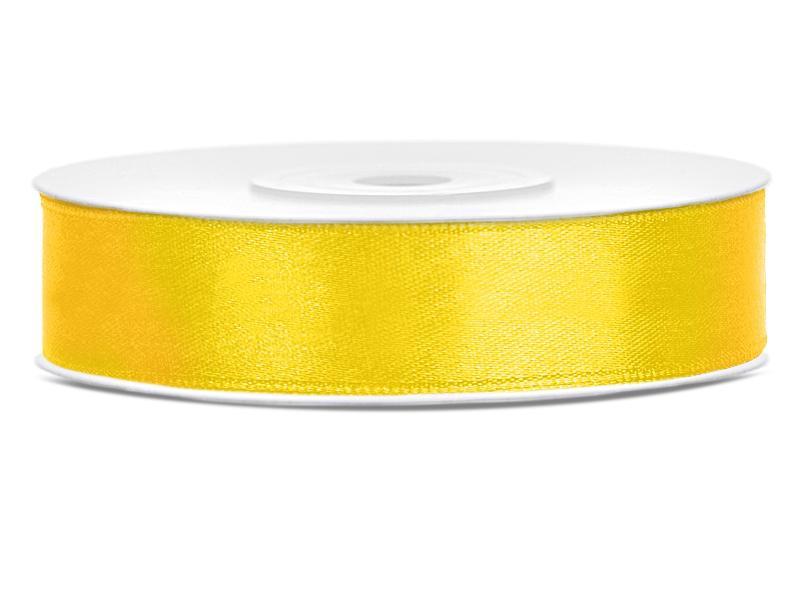 12 mm széles szatén szalag (25 m) – citromsárga