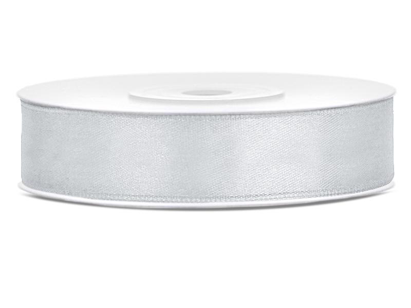 12 mm széles szatén szalag (25 m) – ezüst