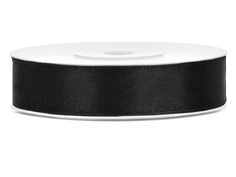 12 mm széles szatén szalag (25 m) – fekete