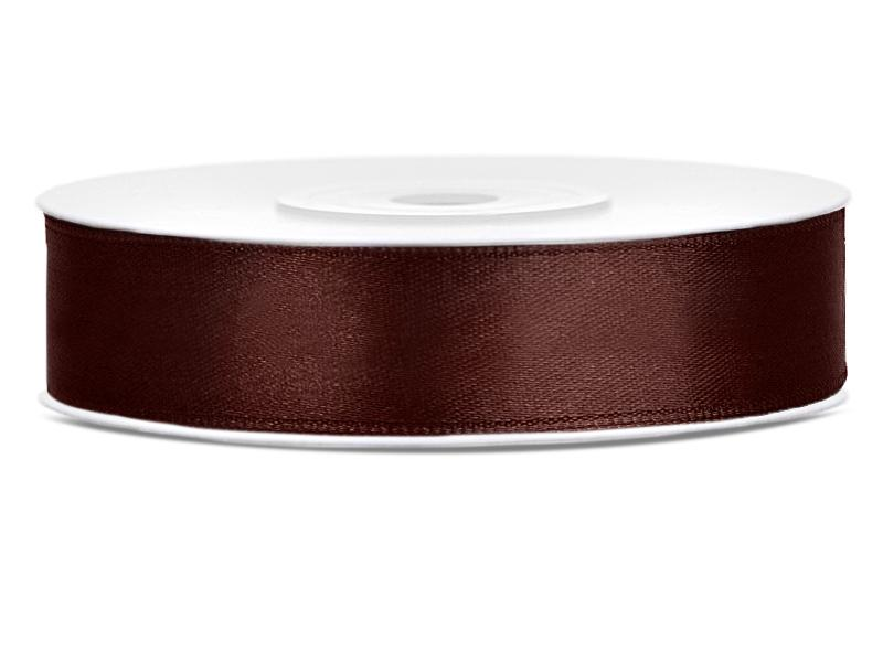 12 mm széles szatén szalag (25 m) – kávébarna