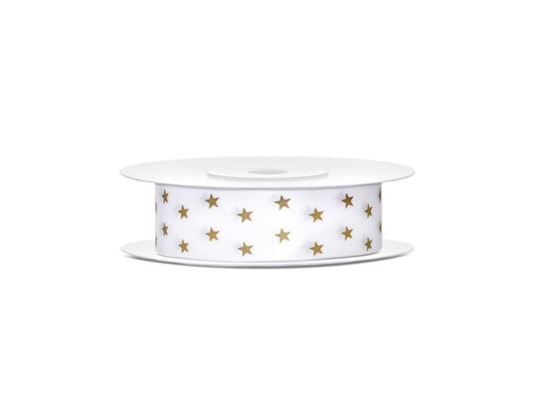 18 mm széles szatén szalag (10 m) – arany, csillag