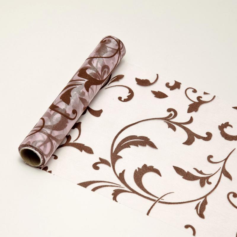 23,5 cm széles inda mintás organza futó (5 m) – rózsaszín és kávébarna