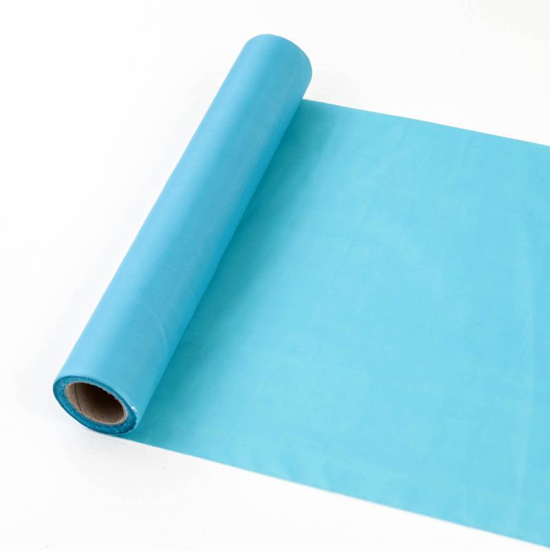 25 cm széles dekorselyem futó (10 m) – türkiz