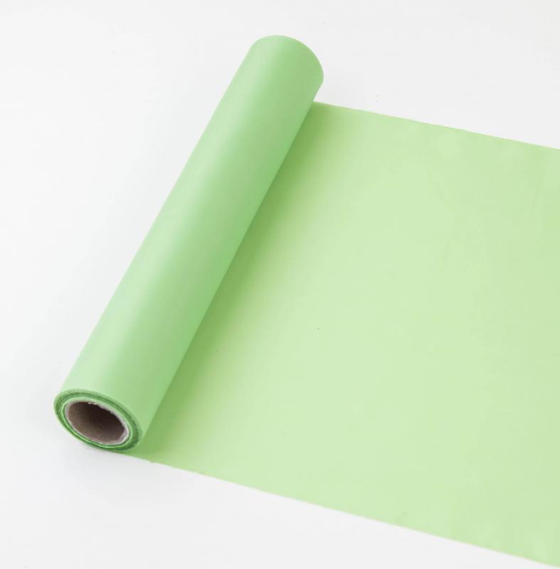 25 cm széles dekorselyem futó (10 m) – zöld