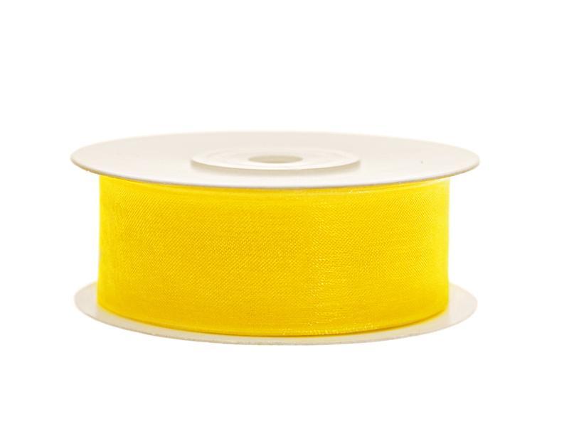 25 mm széles organza szalag (25 m) – sárga